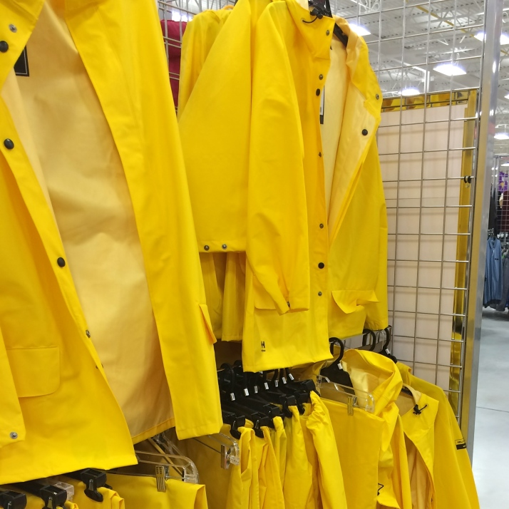 Full-on rain gear. For all the sword boats and lobstermen up here on the lakes. Or if anyone wants to dress up like the Gorton's Fisherman for Halloween.