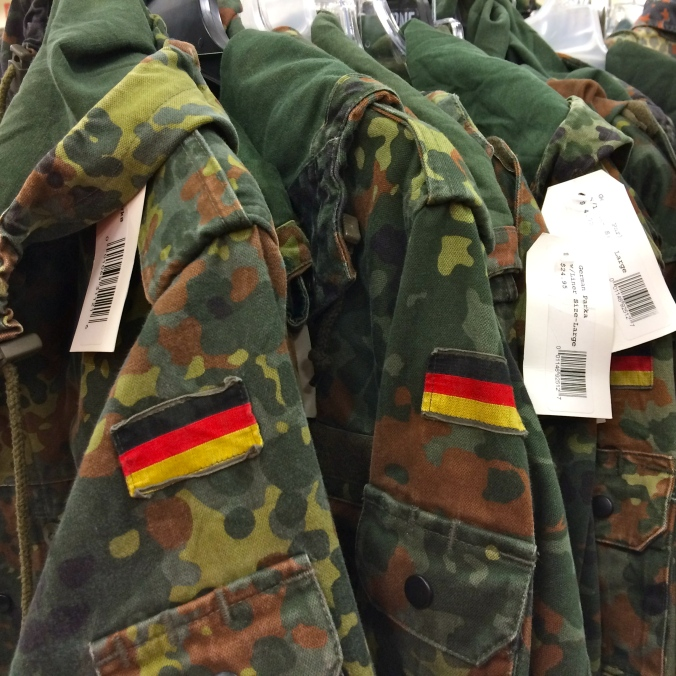 I very much enjoy the military surplus section. These field jackets are from the German Army. I feel better that they do have surplus German Army field jackets because no one really wants to see that band get back together.