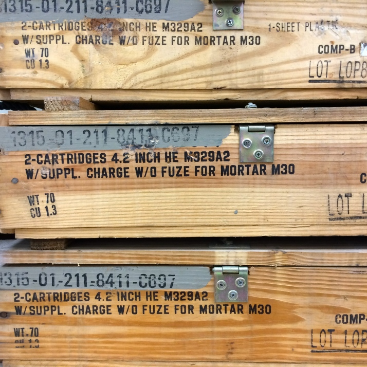 I can't lie, I was a little disappointed that only these boxes were for sale, not the actual mortars or grenades that they stored. They'd make nice flower planters in some doomsday prepper's backyard, though.